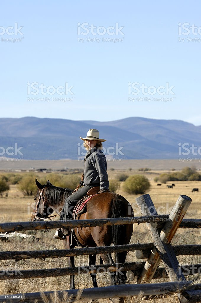 Pretty Cowgirl stock photo