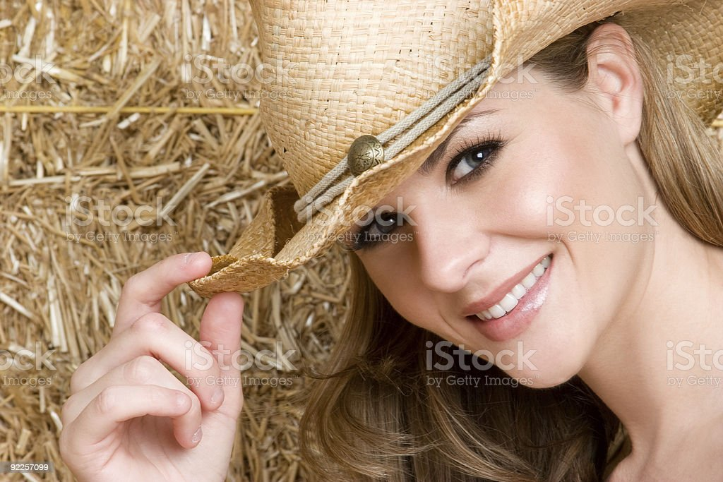 Pretty Cowgirl Smiling royalty-free stock photo