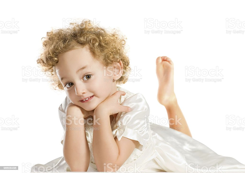 Pretty curly blond  little girl royalty-free stock photo