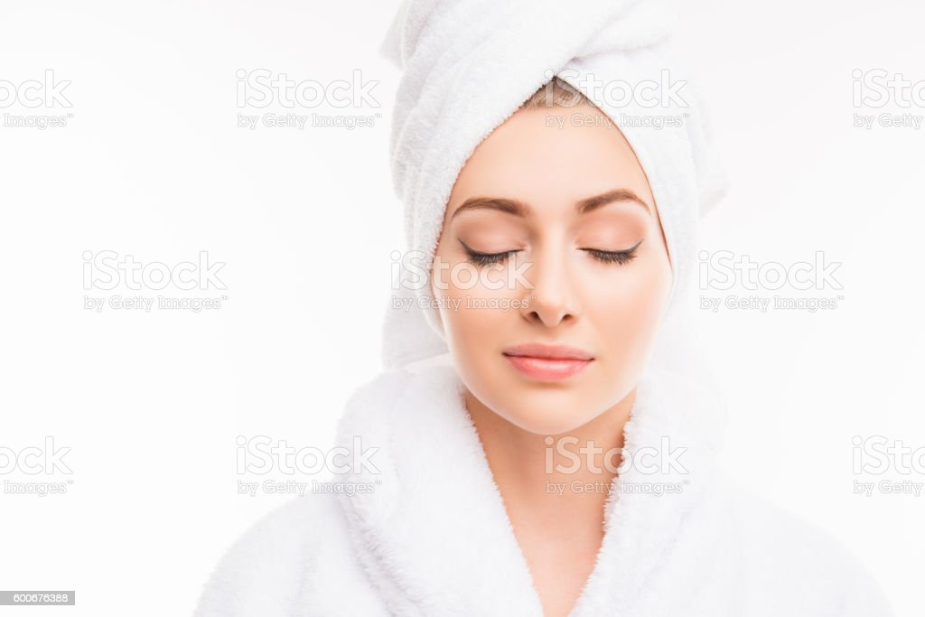 pretty cute girl with towel on her head  closed eyes stock photo