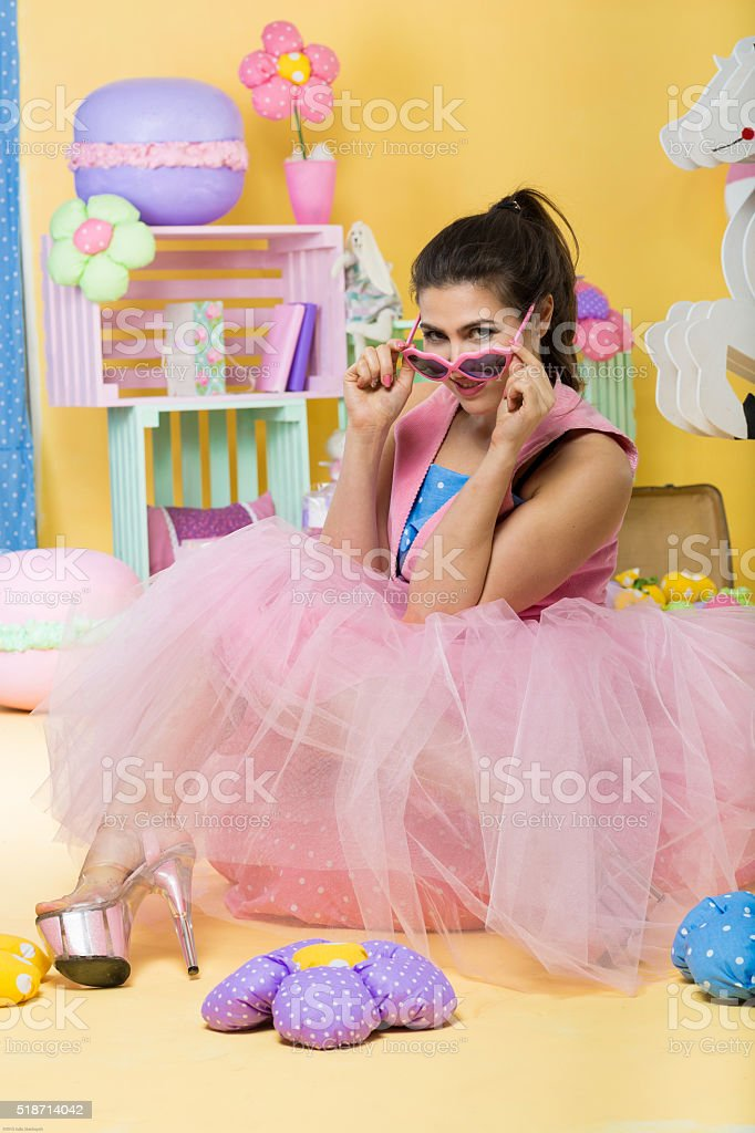 Pretty daydreaming girl stock photo