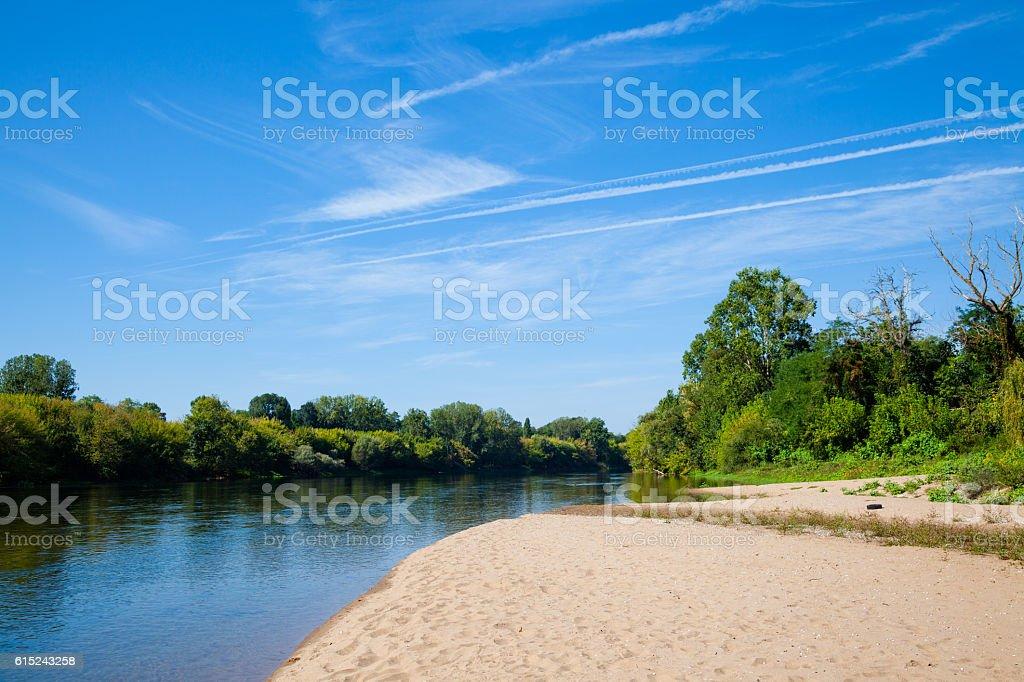 pretty Dordogne river France near Gardonne on sunny summer day stock photo