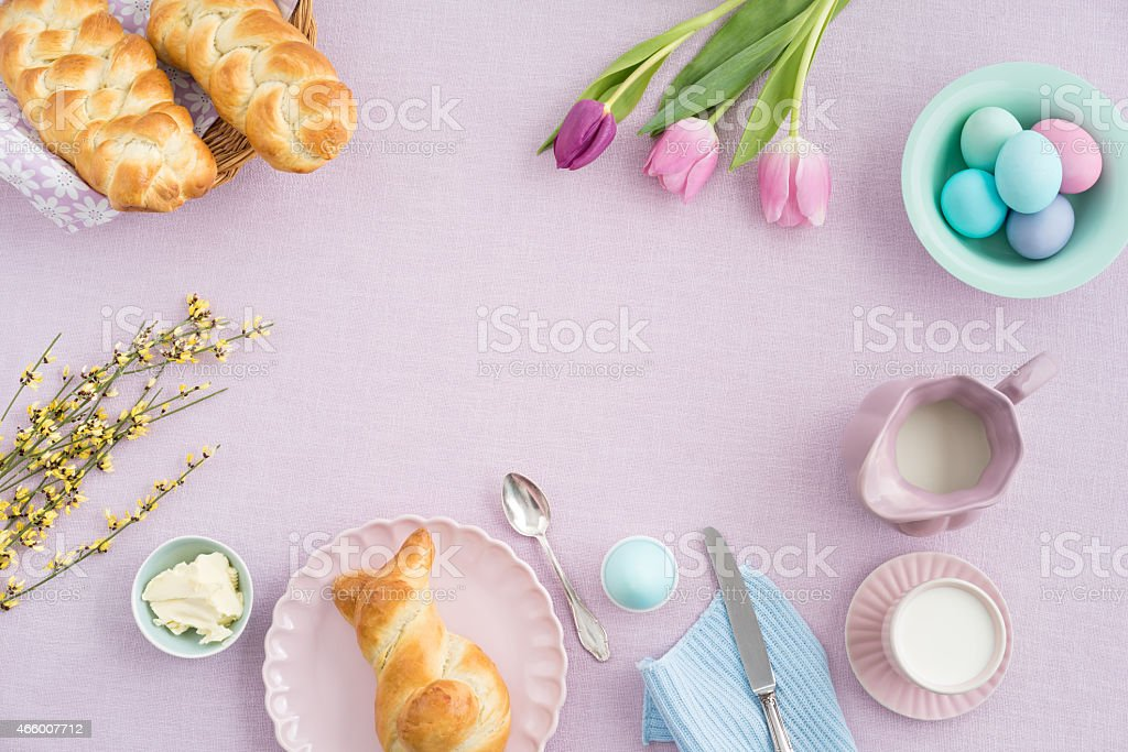 Pretty Easter breakfast display with lilac theme stock photo
