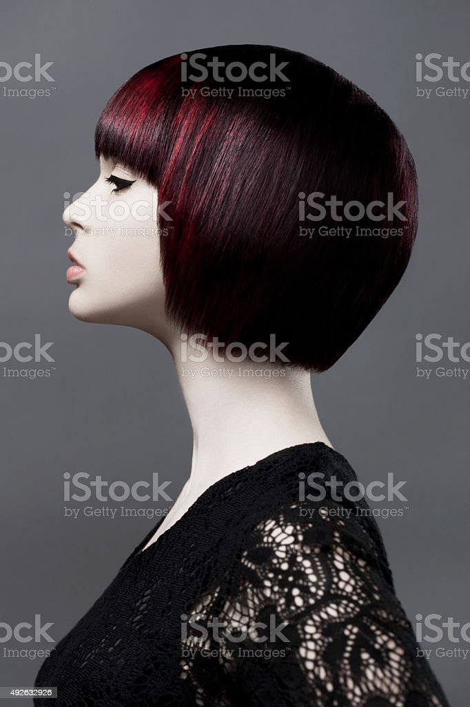 Pretty Fashion Model With Dark Red Hair stock photo