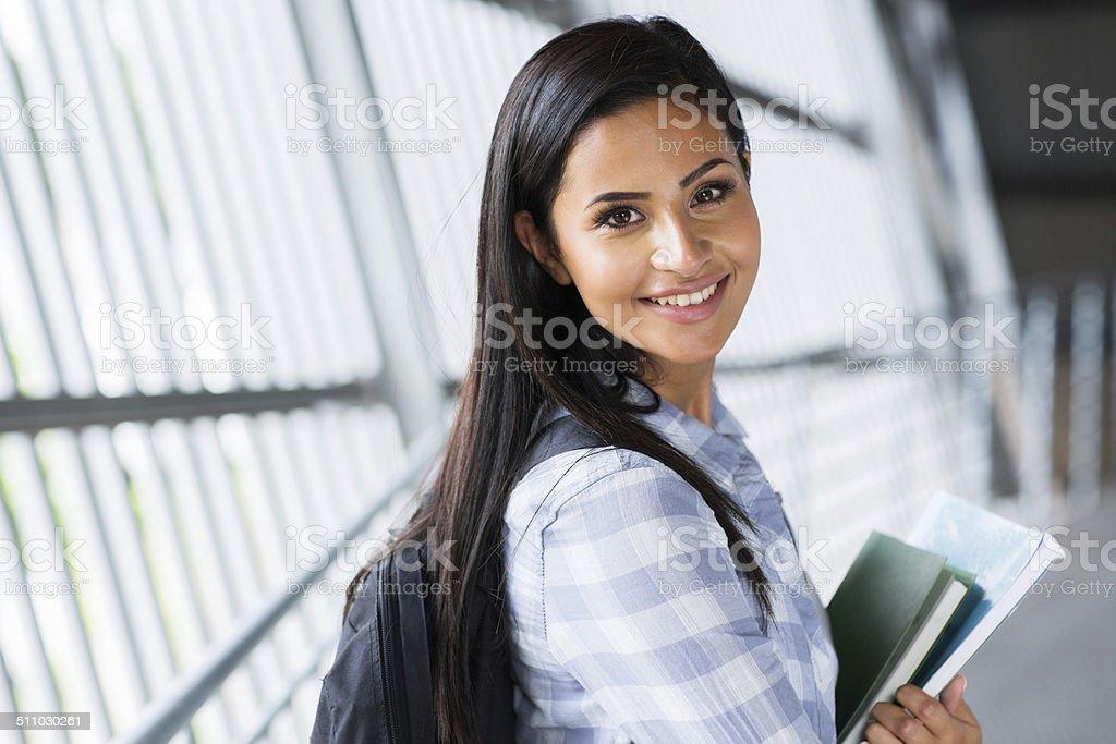 pretty female college student stock photo