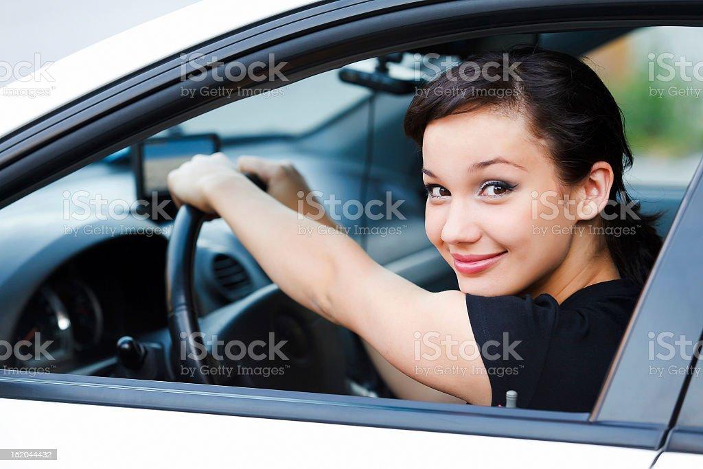 Pretty female driver royalty-free stock photo