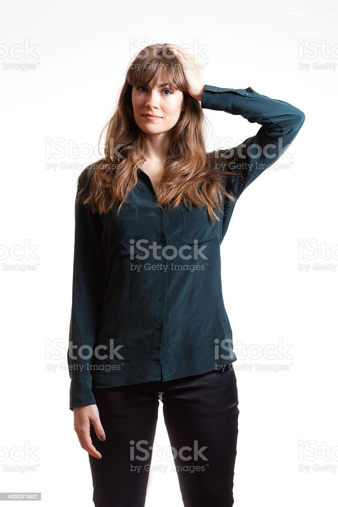 Pretty Female Model Thinking  Hand on Head Isolated White Background stock photo