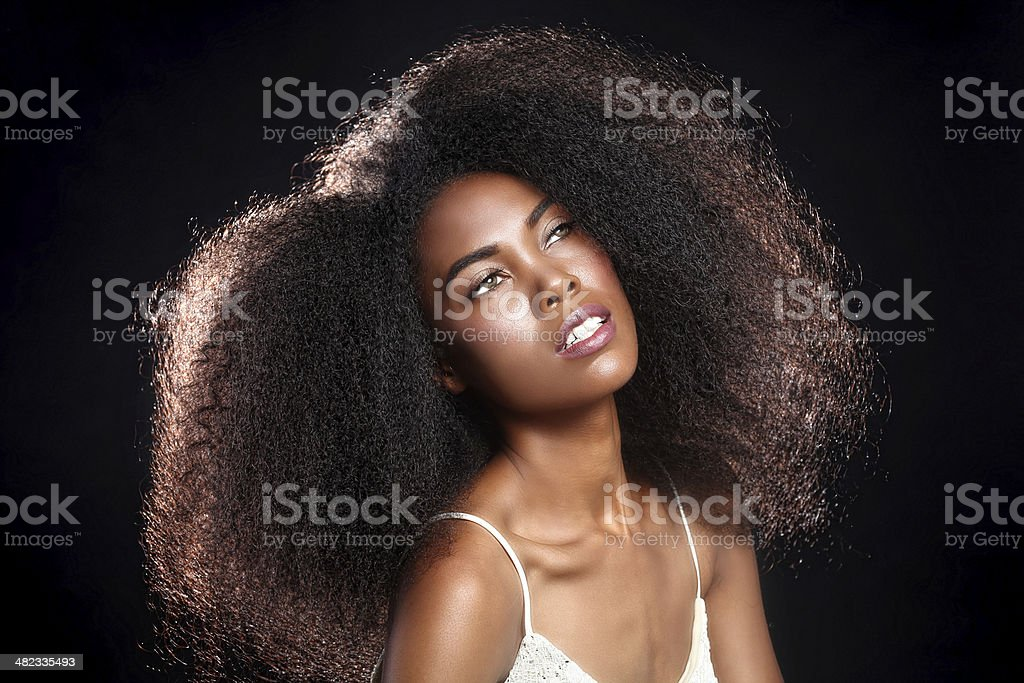Pretty Feminine African American Black Woman With Big Hair stock photo
