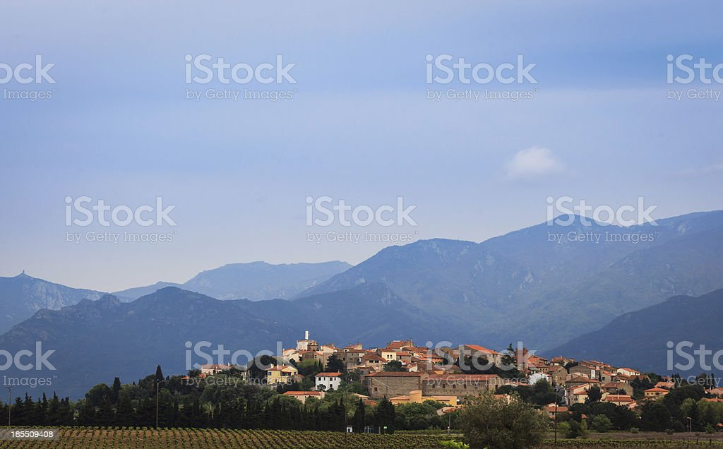 Pretty French village nestles in the Pyrenees Mountain France royalty-free stock photo
