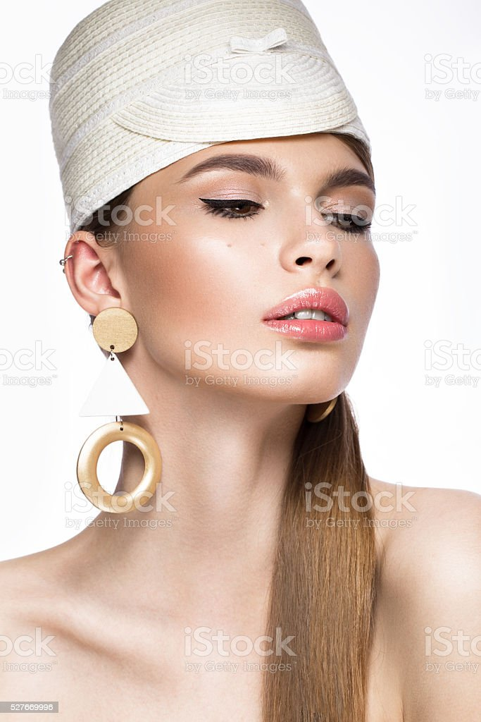 Pretty fresh girl, image of modern Twiggy in fashionable white stock photo