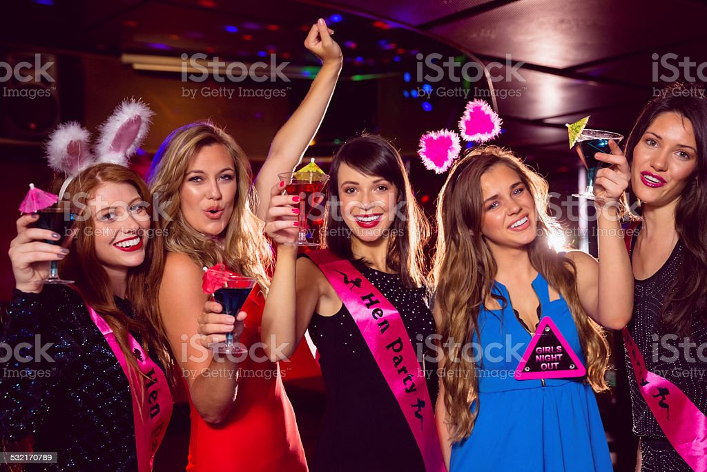 Pretty friends on a hen night stock photo