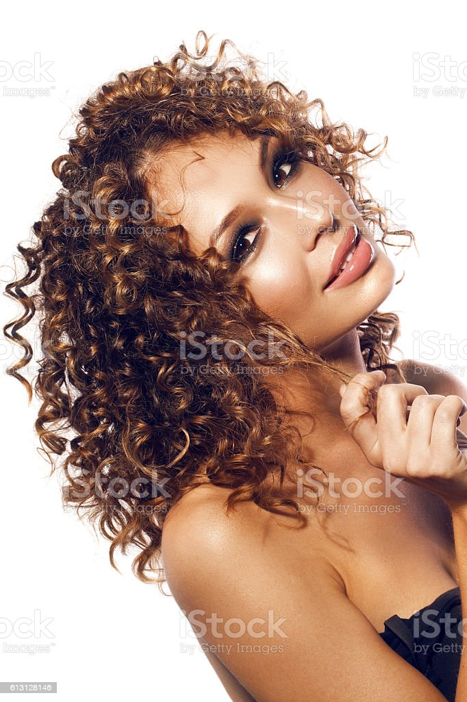 pretty funny girl with afro hairstyle stock photo