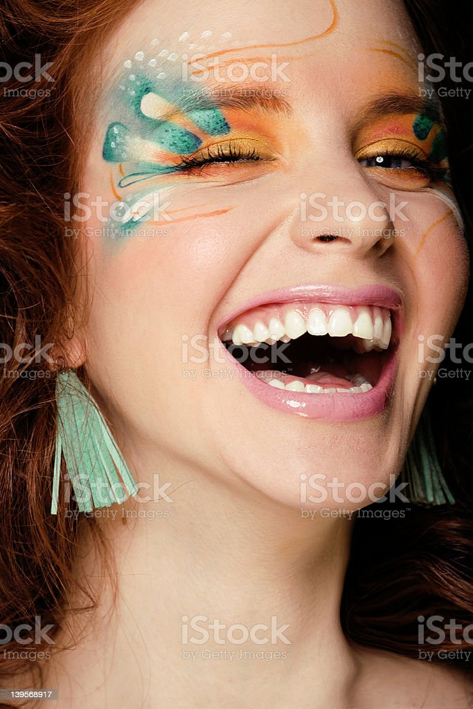 pretty funny girl with art make up royalty-free stock photo
