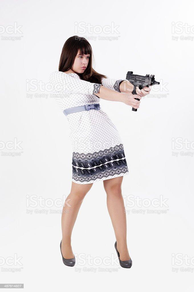 Pretty girl aiming royalty-free stock photo