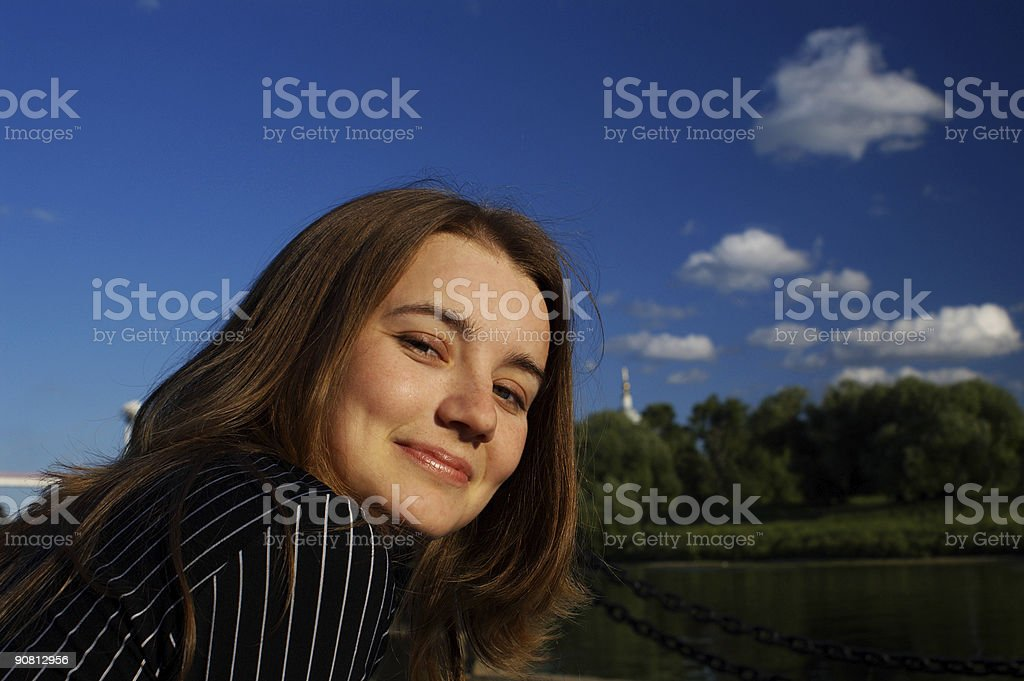 Pretty girl and river royalty-free stock photo