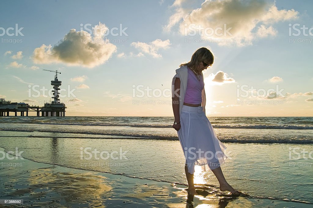 pretty girl and the sea stock photo