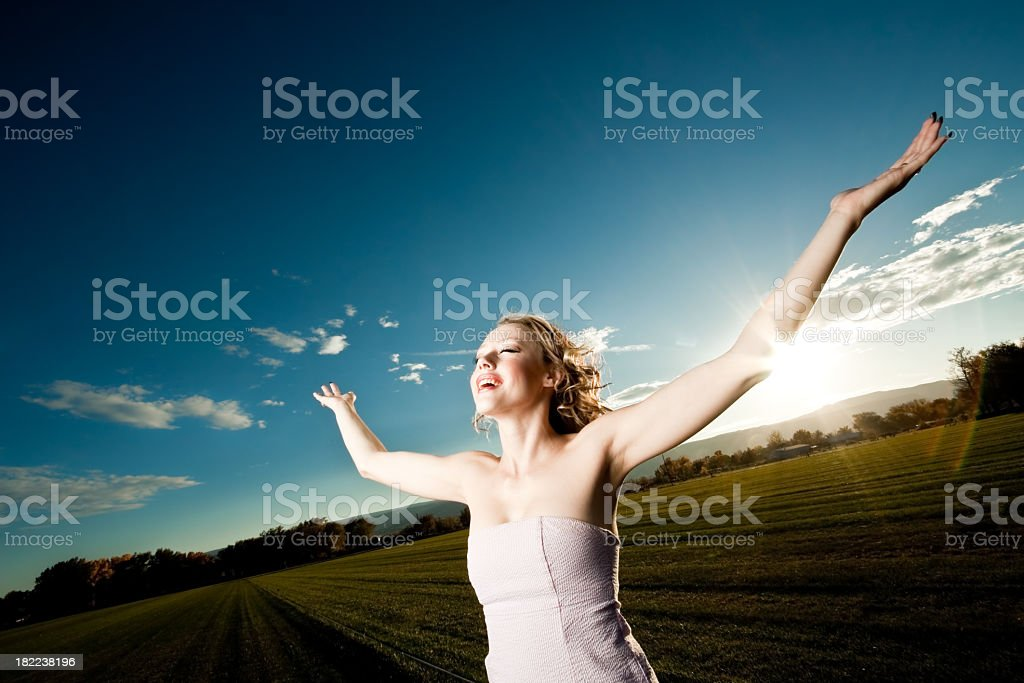 Pretty Girl, Arms Raised royalty-free stock photo