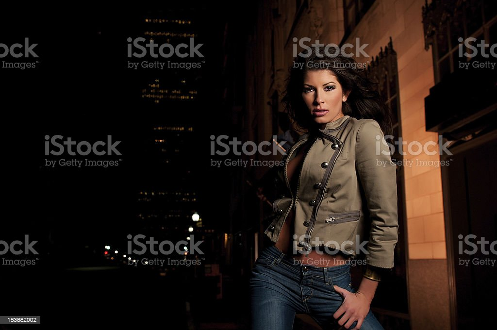 Pretty Girl at Night on the Street stock photo