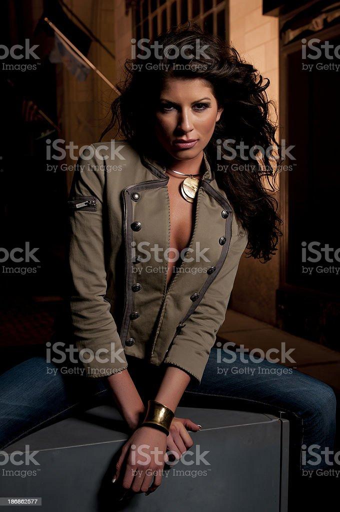 Pretty Girl at Night stock photo