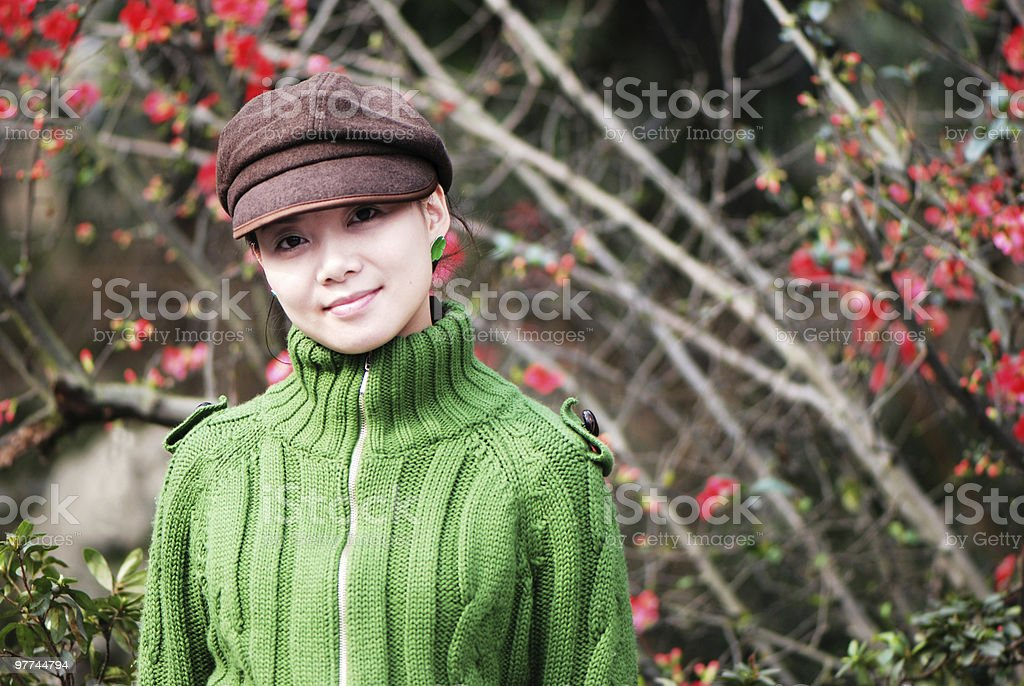 pretty girl before the peach royalty-free stock photo