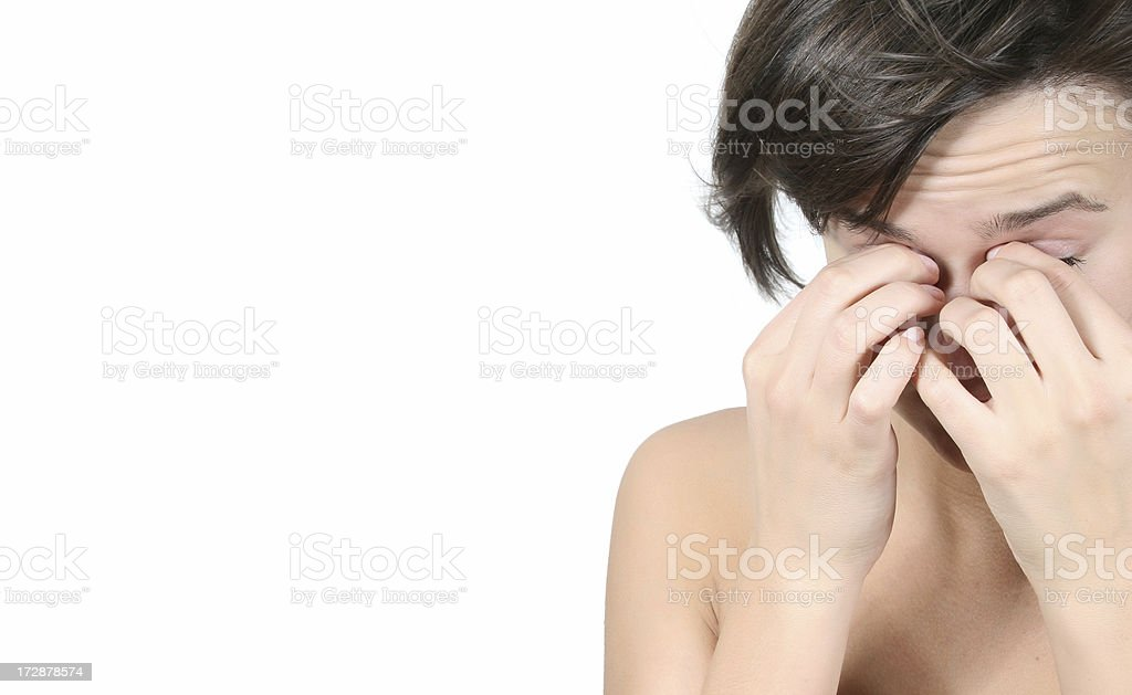 Pretty girl covering her face stock photo