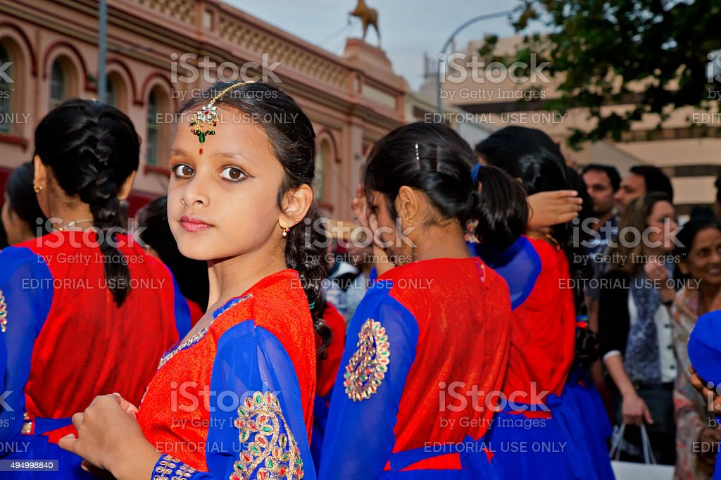 Pretty girl dancer at a multicultural festival in Sydney stock photo