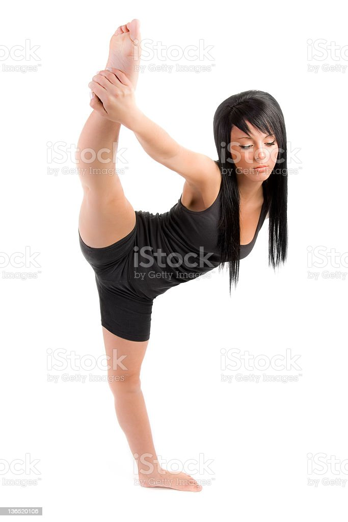 pretty girl doing the splits royalty-free stock photo