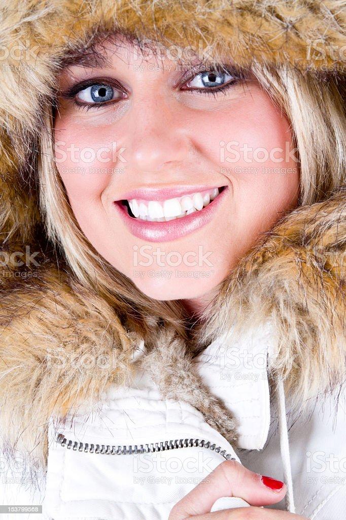 Pretty Girl, Fur Hat royalty-free stock photo