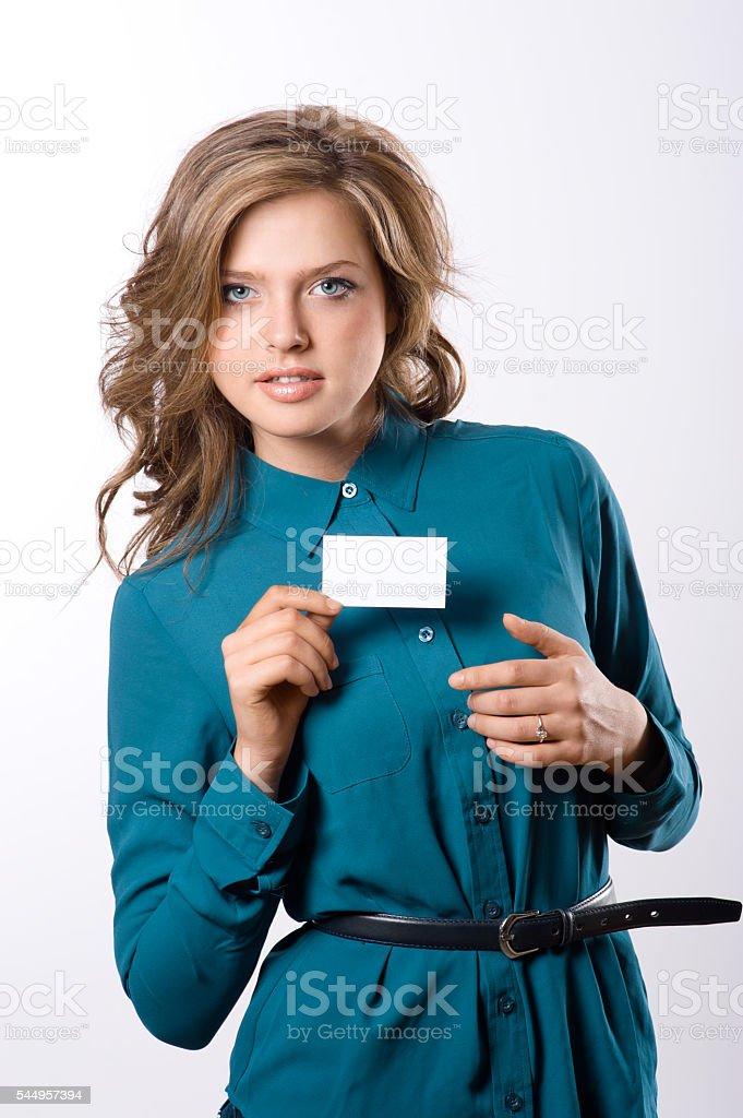 pretty girl hold white blank paper stock photo