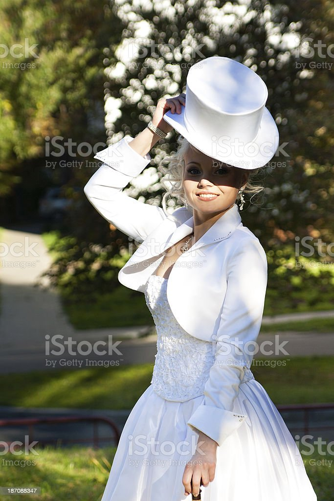 Pretty girl in a wedding dress royalty-free stock photo