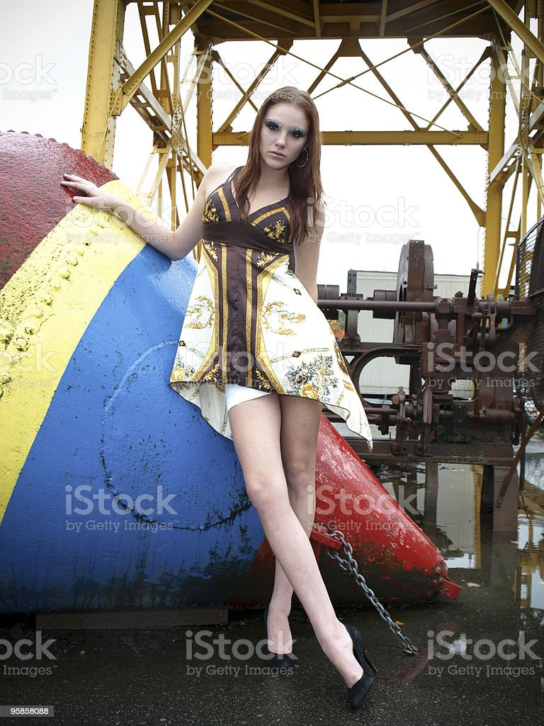 Pretty Girl in an Industrial District stock photo