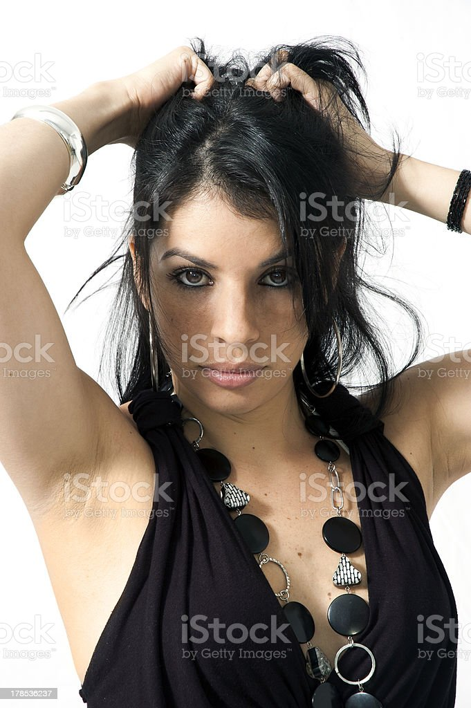 pretty girl in black dress modeling royalty-free stock photo