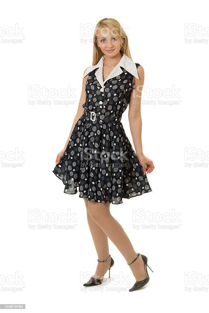 Pretty girl in black dress. royalty-free stock photo