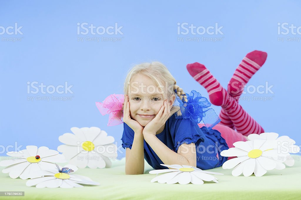 pretty girl in bright clothing or fancy dress stock photo