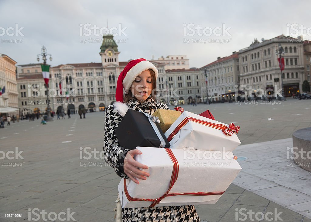 Pretty Girl in Christmas Shopping Time royalty-free stock photo