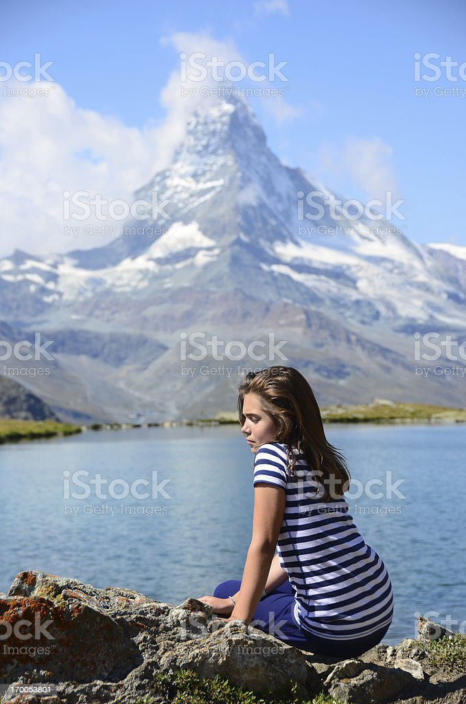 Pretty Girl in Front of Matterhorn royalty-free stock photo