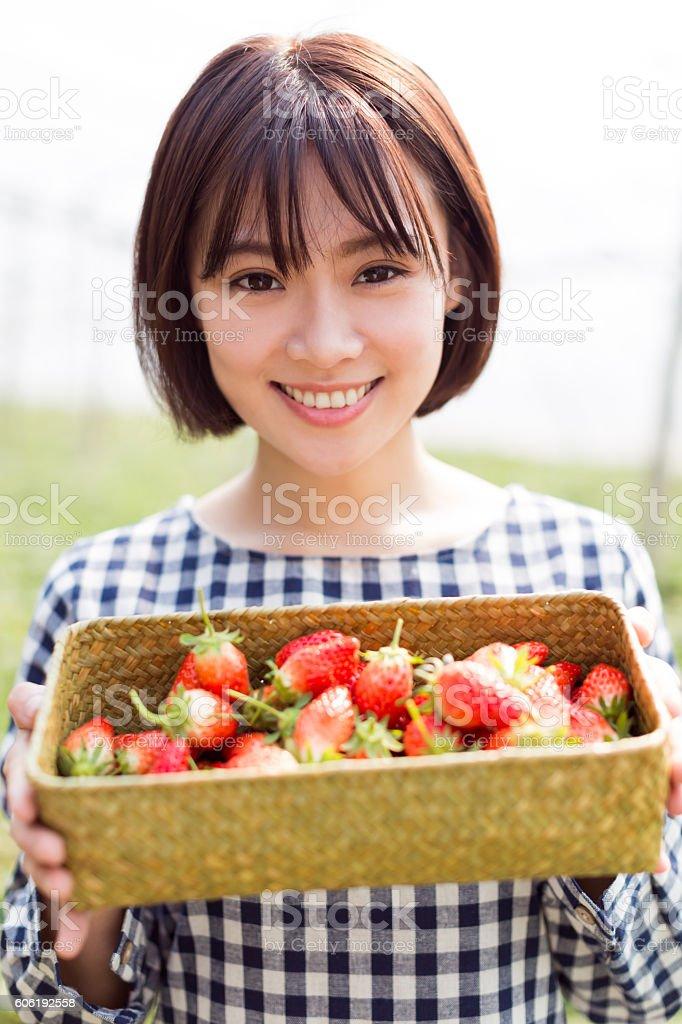 pretty girl in strawberry farm stock photo