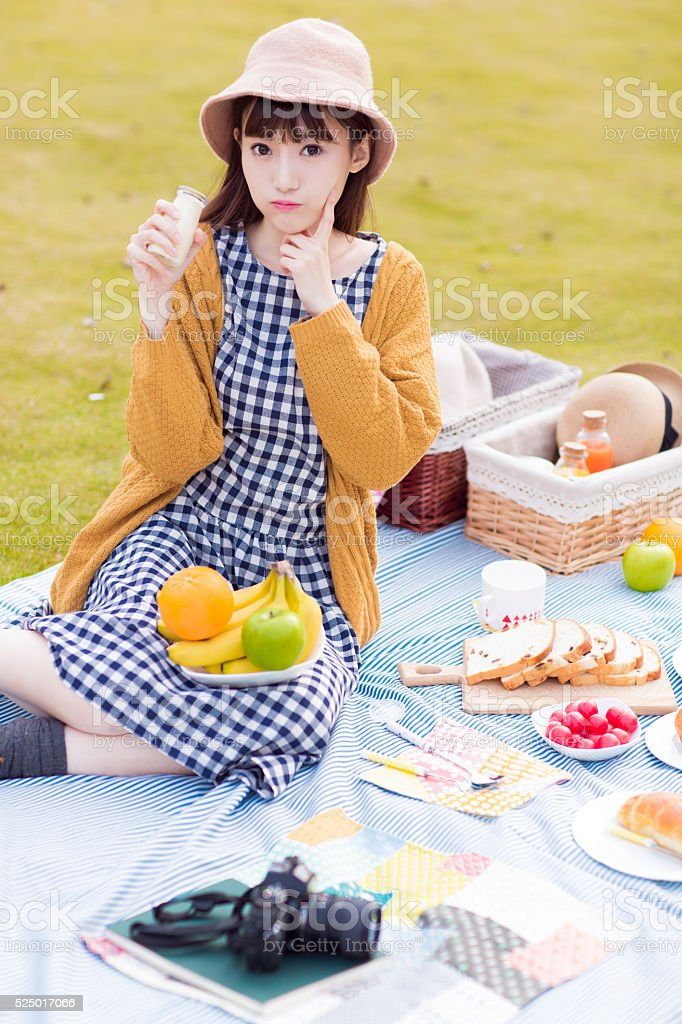 pretty girl in the park stock photo
