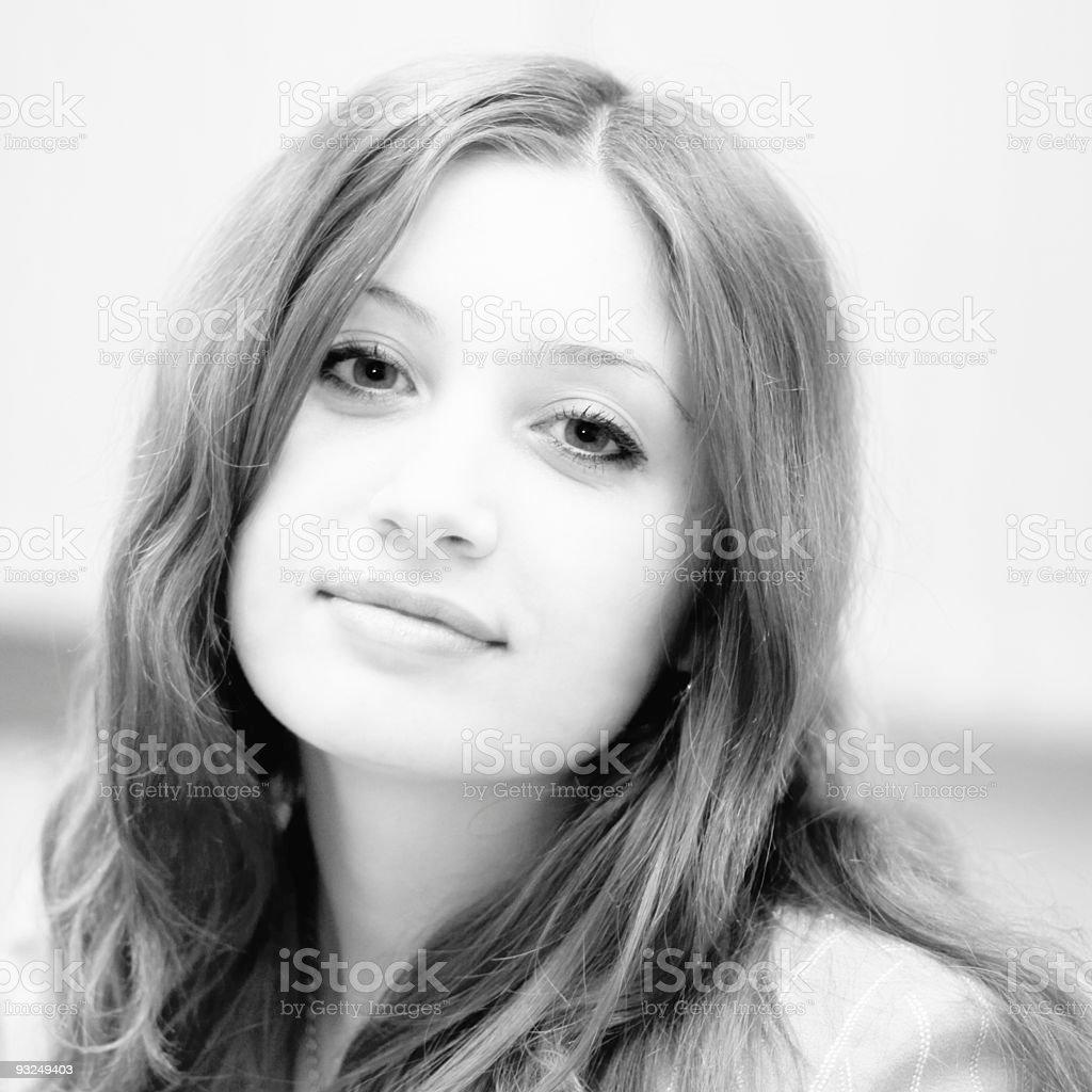 Pretty girl look at camera stock photo