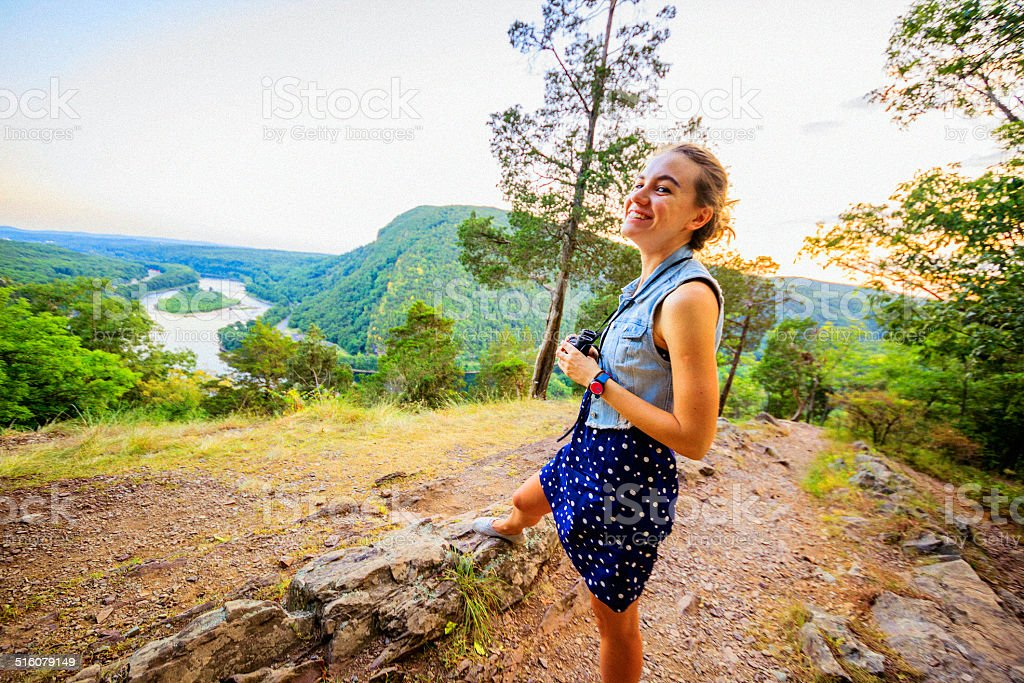 Pretty girl looking the scenic view at Delawar Water Gap stock photo