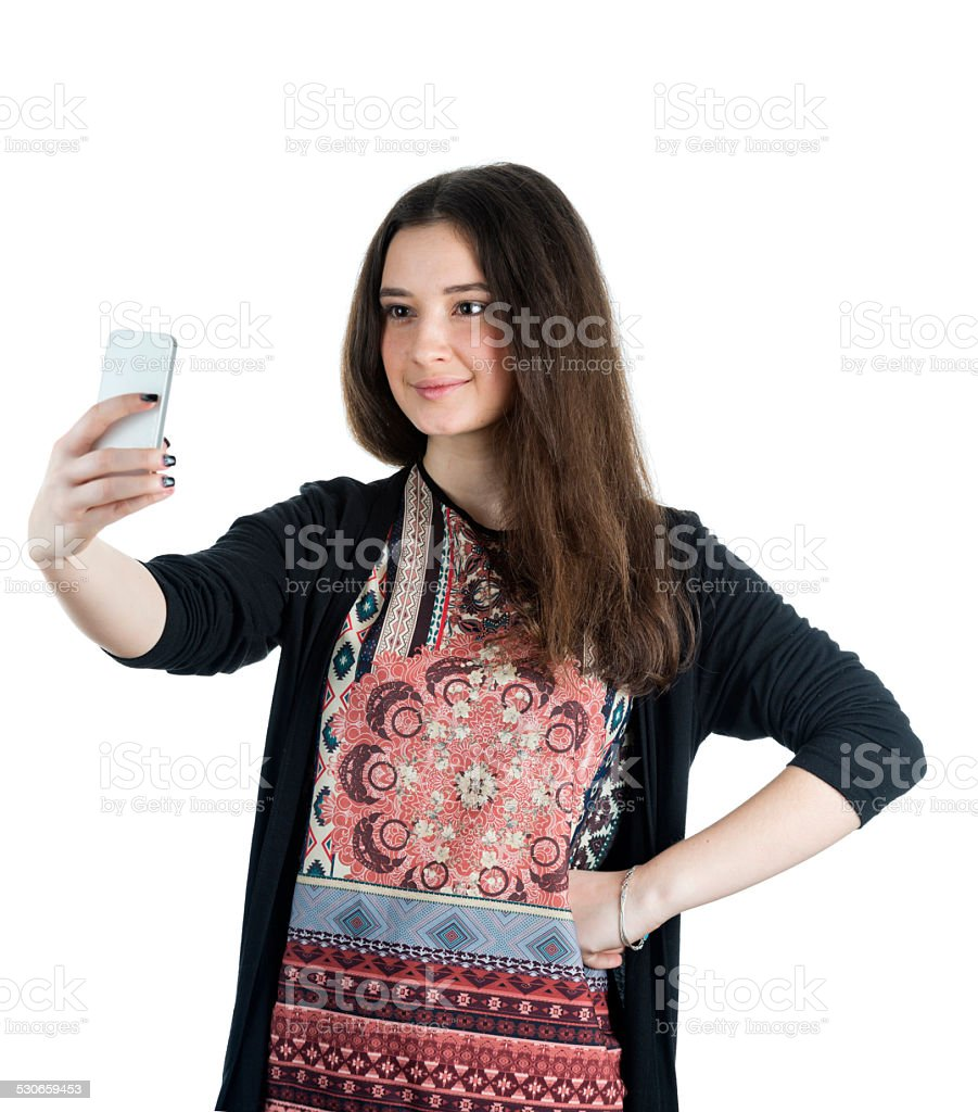 Pretty girl make a cute face selfie stock photo