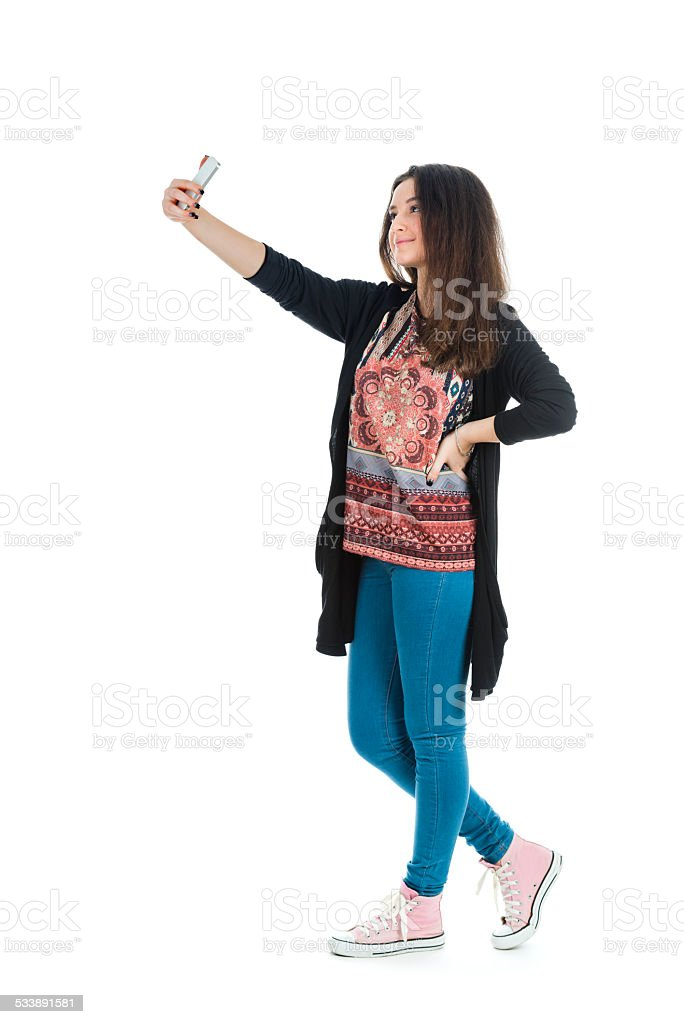 Pretty girl make a cute face, selfie stock photo