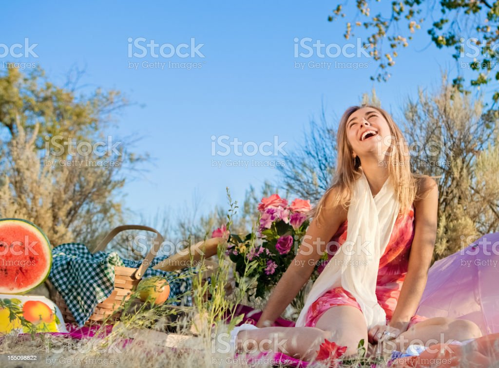 Pretty Girl On A Picnic royalty-free stock photo