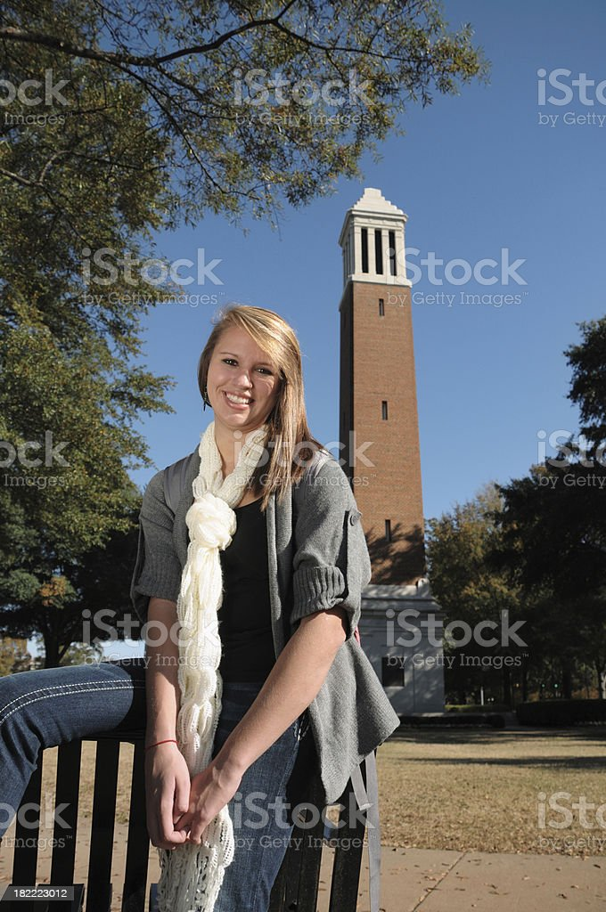 Pretty girl on campus stock photo