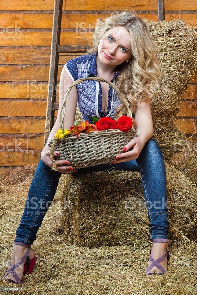 Pretty girl on hay royalty-free stock photo