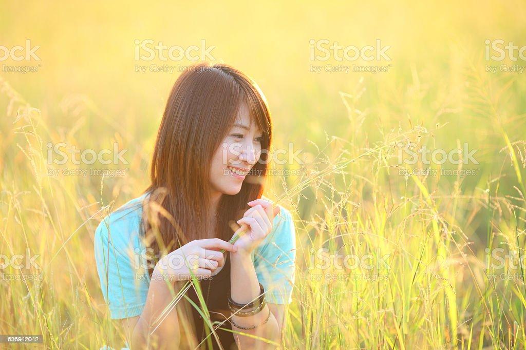 pretty girl outdoor l in field sun light stock photo