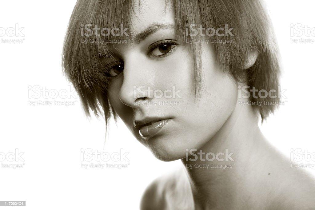 Pretty girl portrait on white royalty-free stock photo