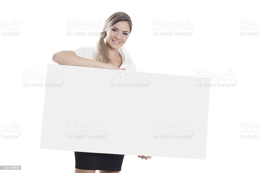 pretty girl portrait with white card for text royalty-free stock photo