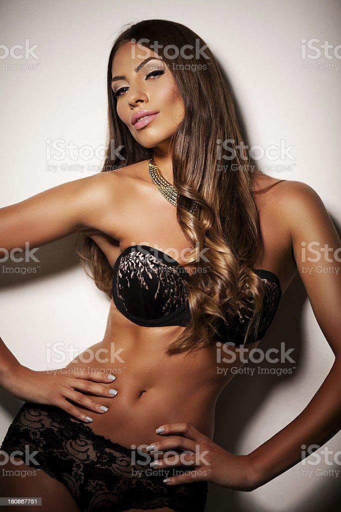 Pretty girl posing in bra and panties royalty-free stock photo
