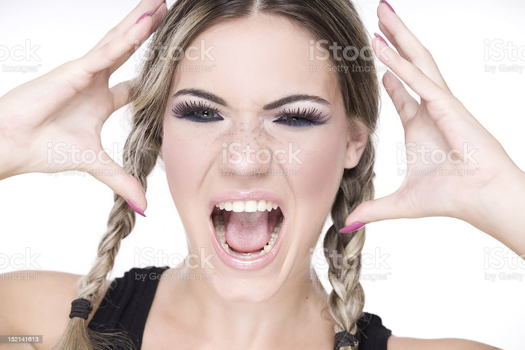 pretty girl screaming royalty-free stock photo